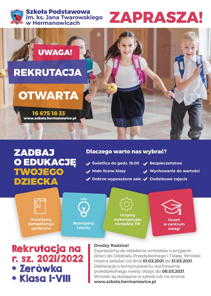 plakat rekrutacyjny na rok szkolny 2021/2022